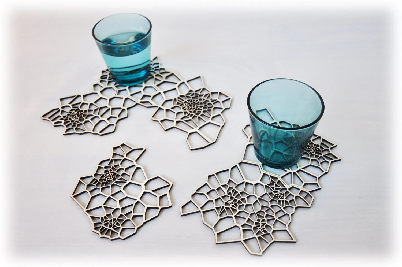 Lasercut drink coasters - Geometric Wood - set 6 - AsymmetreeDesign