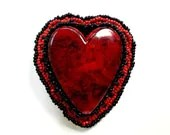 Valentines Day Heart Red and Black Pin Up Beaded Hair Clip Accessory - MegansBeadedDesigns