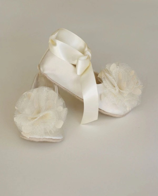 Ivory Satin Flower Girl Shoe Baby Ballet Flat