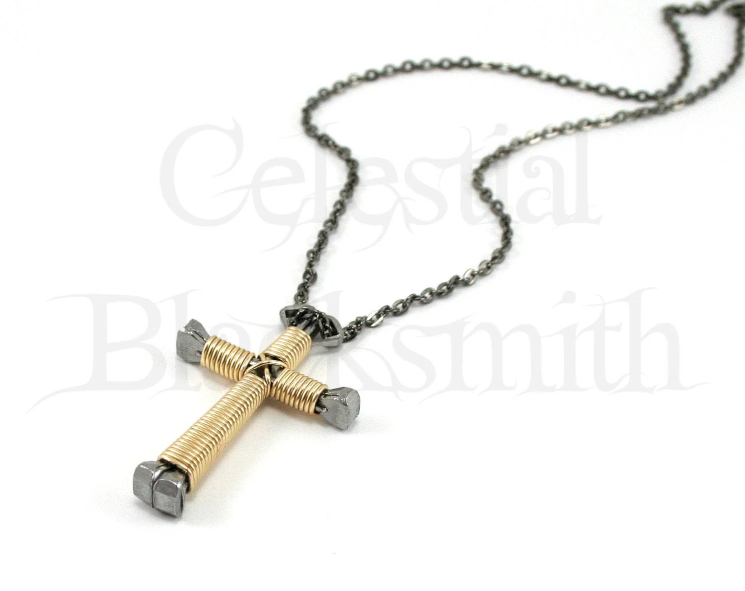 Gold Cross Necklace Gold Wire Wrapped by CelestialBlacksmith