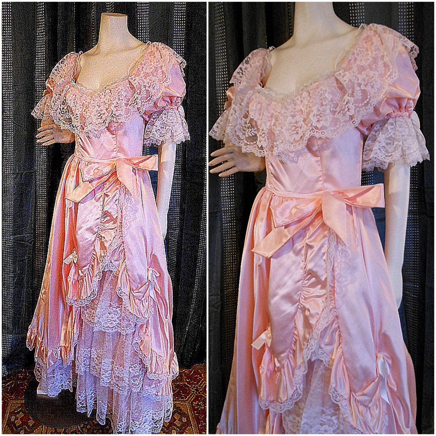 vintage 70s80s Victorian gown dress pink lace ruffled