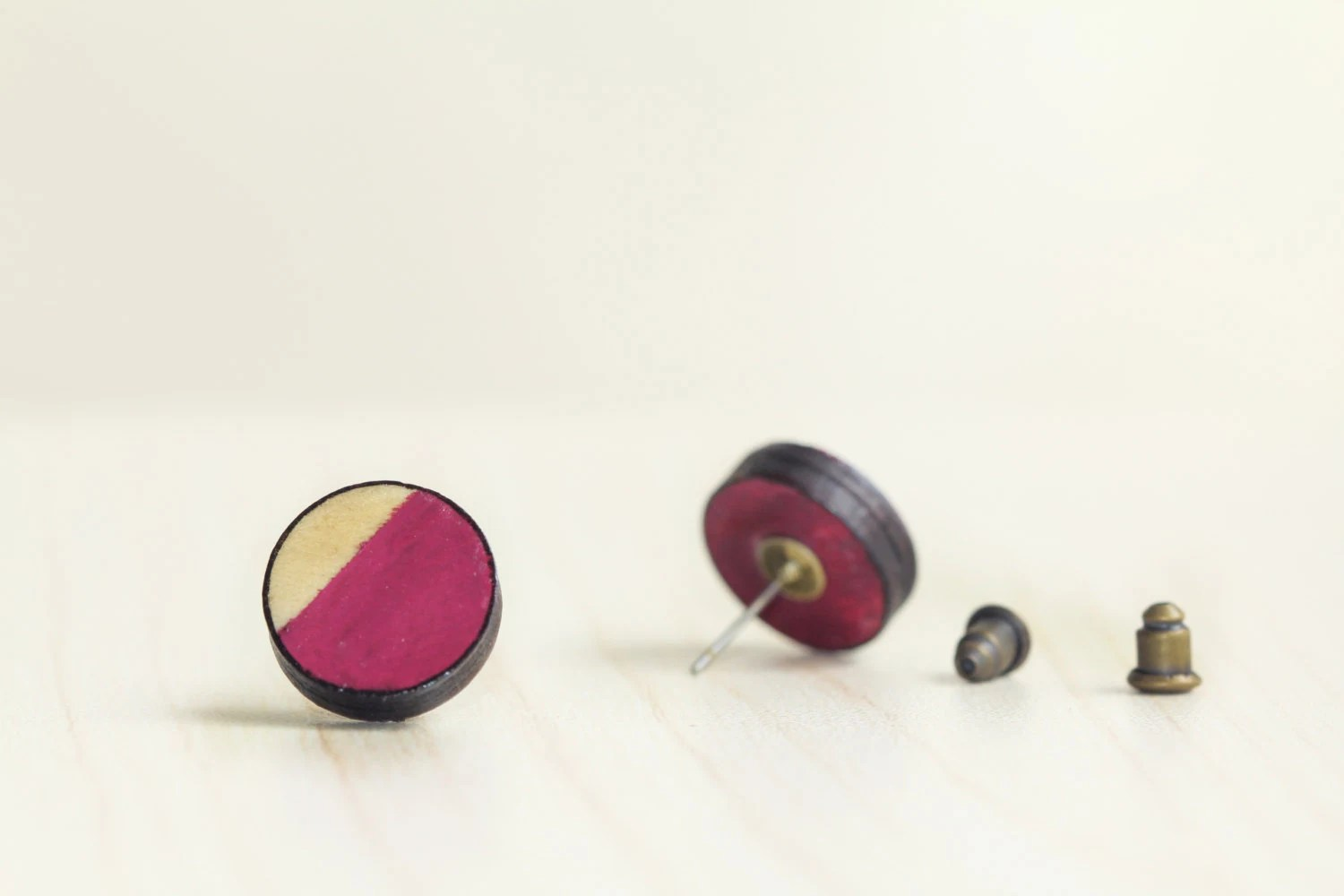 round ear studs . berry geometric earring jewellery . dipped . rustic cottage chic . mini small . magenta fuchsia purple red maroon - FreshfromtheKiln