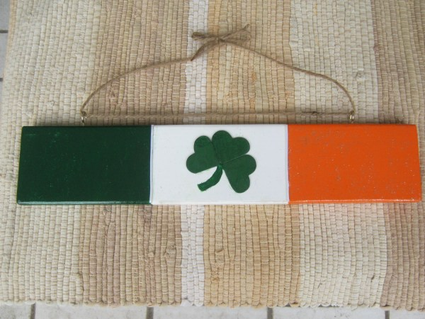 St Patricks Day Irish Flag With Shamrock Hand Painted Wood