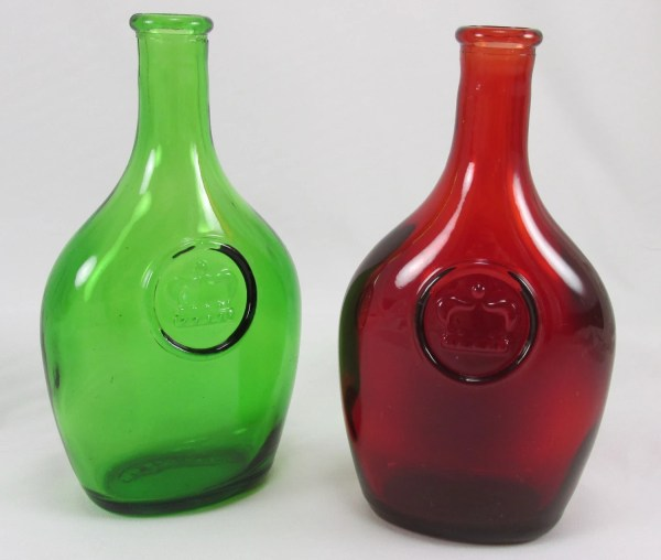 Colored Glass Bottlestwo Vintage Red And Green Liquor