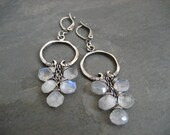 Rainbow moonstone cascading hoop earrings - ElfiRoose
