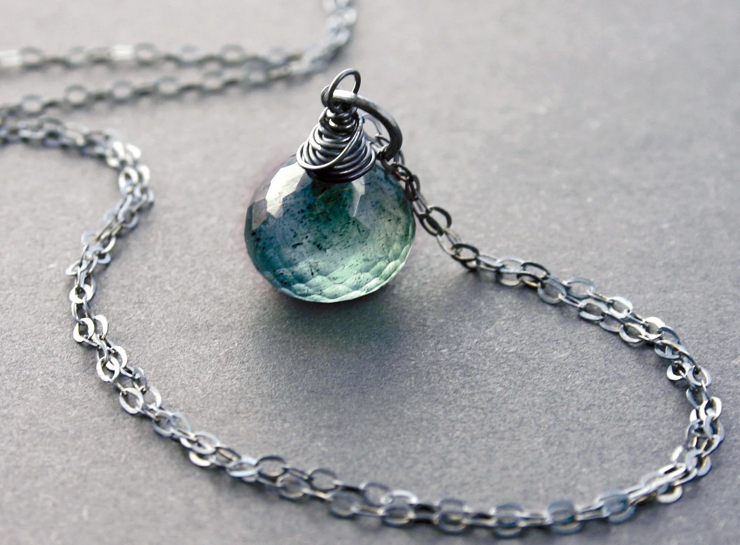 Moss Aquamarine Necklace with Oxidized Sterling Silver March Birthstone Birthday