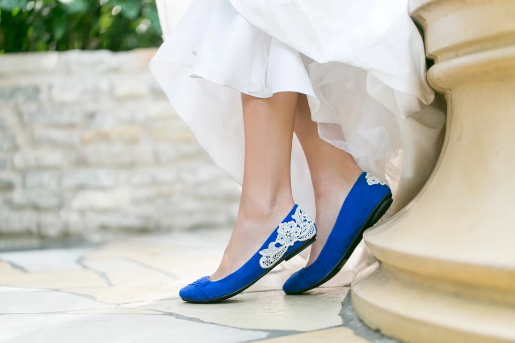 Bridal Flats - Wedding Ballet Flats, Cobalt Blue Wedding Shoes with Ivory Lace. US Size 6 - walkinonair