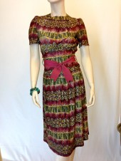 Vintage 40s Abstract Burgandy Floral Print Rayon DRESS with Self Tie - ThriftHound2000
