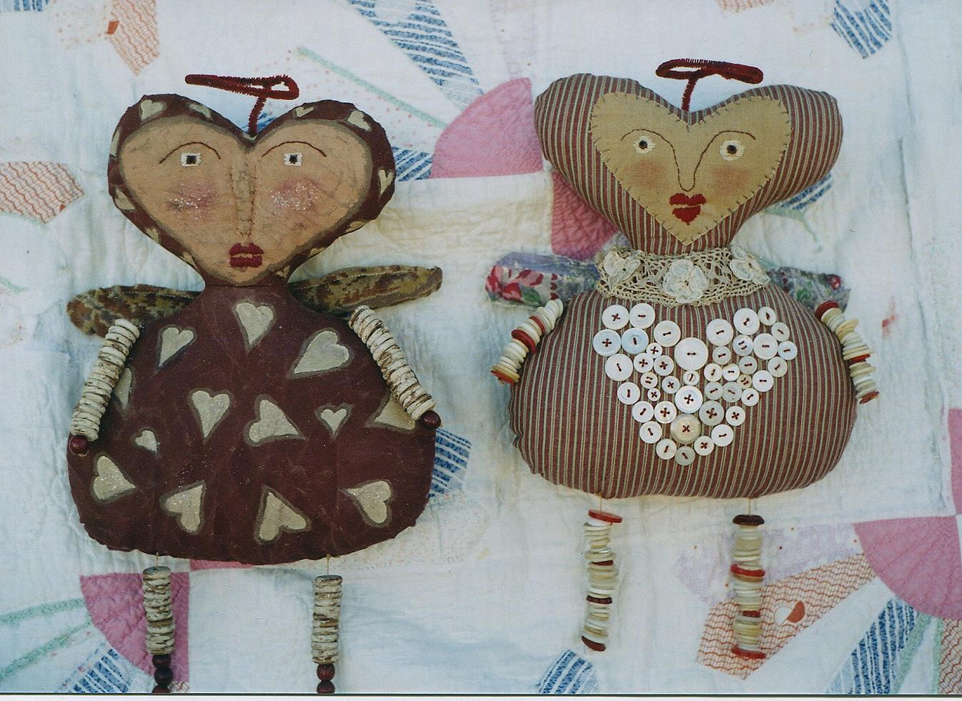 Primitive Valentine Doll Pattern Epattern Applique Heart