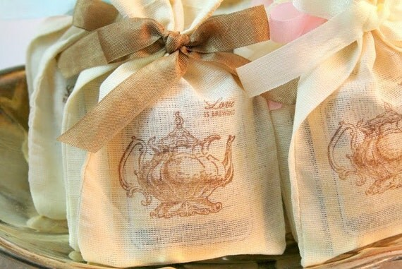 Tea Bag Favors Fully Assembled Wedding Bridal by OnTheWingsPaperie