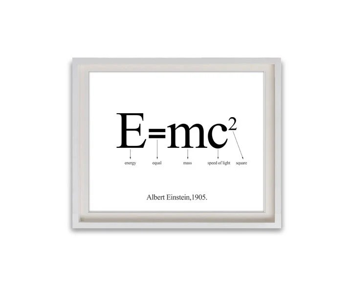 "8""x10"" Printable Art / Digital Poster ' E mc2 Albert Einstein ' - JPG z024 - Febystan"