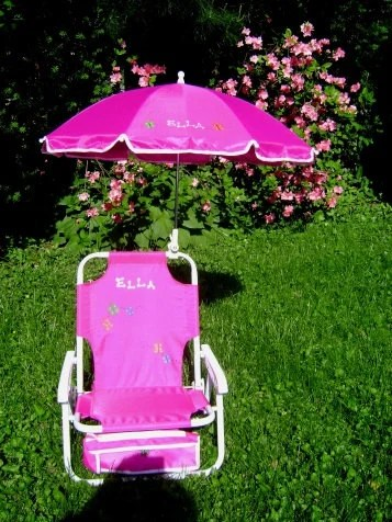 Personalized beach chair  umbrella for kids by dmzdesigns