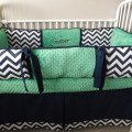 Navy chevron and kelly green bedding crib set by abusymother
