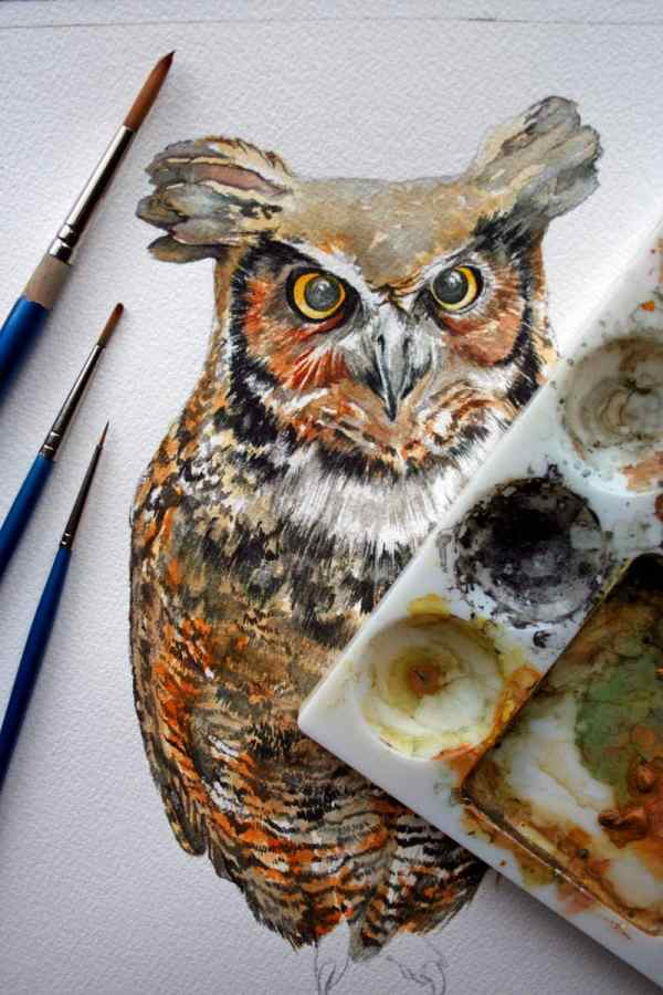 Owl Painting Great Horned Watercolor Original
