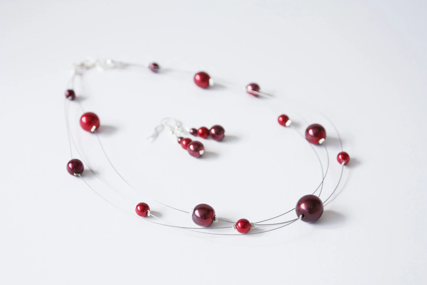 Red glass pearl multi strand illusion necklace and by