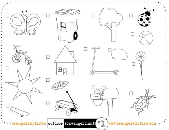 Printable Outdoor/Yard Scavenger Hunt 1 Illustrated
