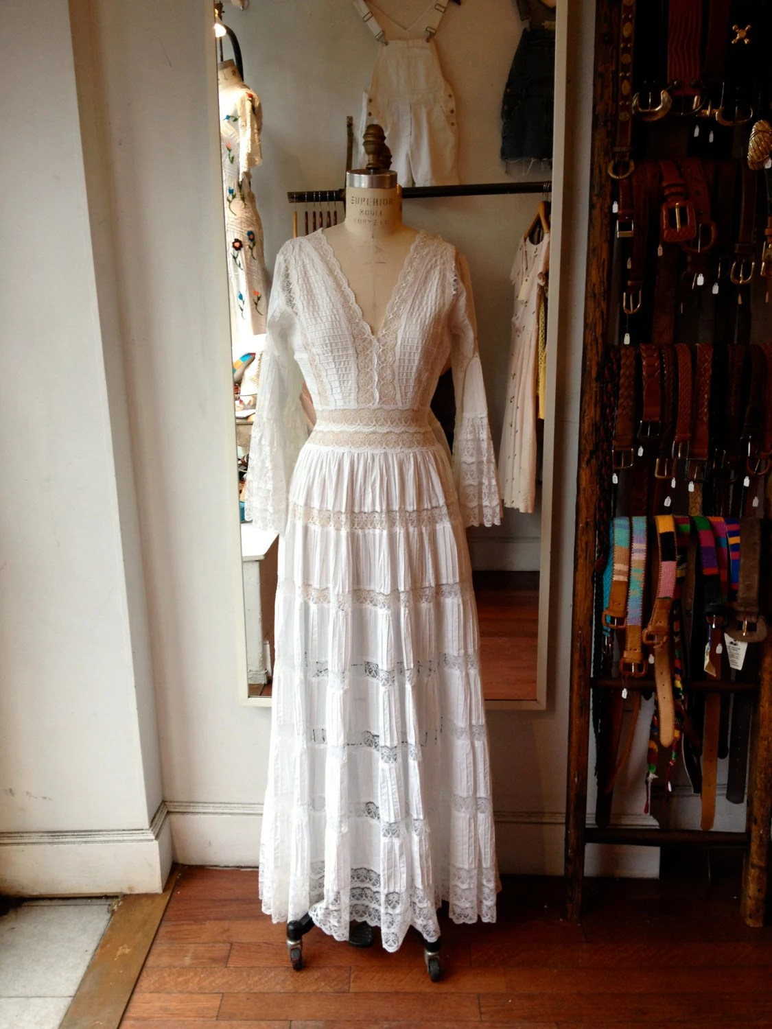 Vintage Mexican Wedding Dress  Lace Wedding by alittlewicked
