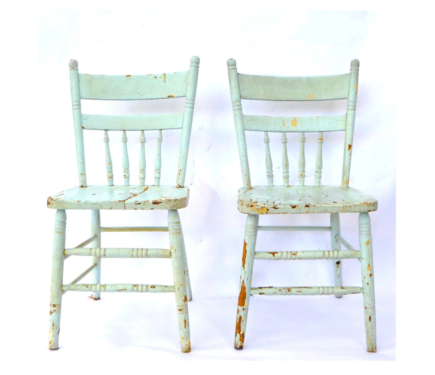 vintage wooden chairs chair covers for folding blue spindle back kitchen pair robins egg