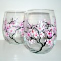 Hand painted wine glasses spring wedding cherry blossoms set of 2 20