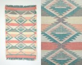 "summery SOUTHWESTERN striped PASTEL fringed ethnic DOORMAT rug, 22"" x 40"" - discoleafvintage"