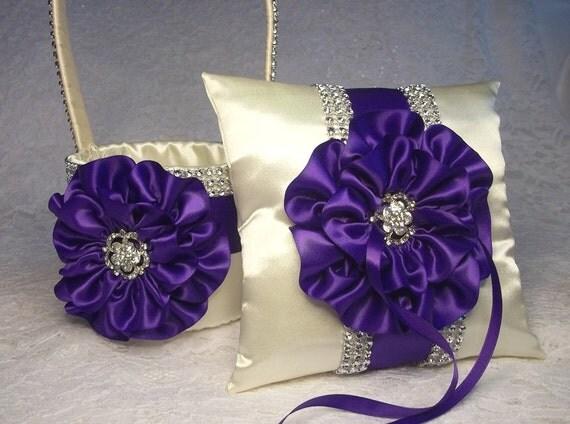 Flower Girl Basket  Ring Bearer Pillow Ivory and Royal