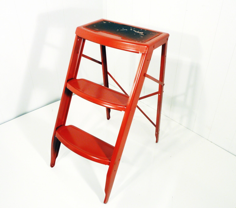 red metal step stool vintage ladder upcycled paint