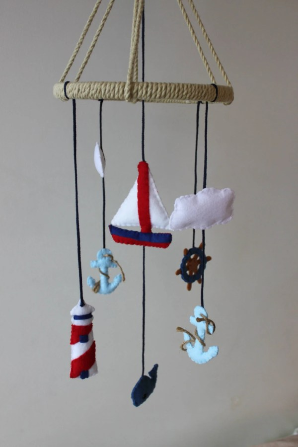 Nautical Baby Mobile Sail Boat Anchor Ocean Whale