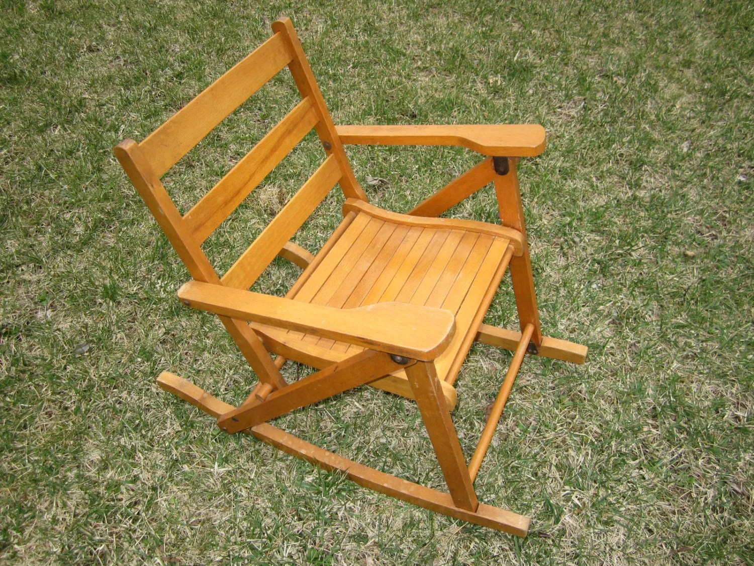 antique folding rocking chair value wicker back dining chairs vintage childs wood by nevco