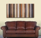 "Modern Art Wood Wall Sculpture in Browns, Tan, Navy, Cream and Gray Stripes 24x48""  -Make to Order"
