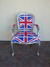 British flag union jack silver louis arm chair