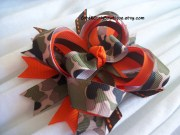 camo girls hair bow orange brown