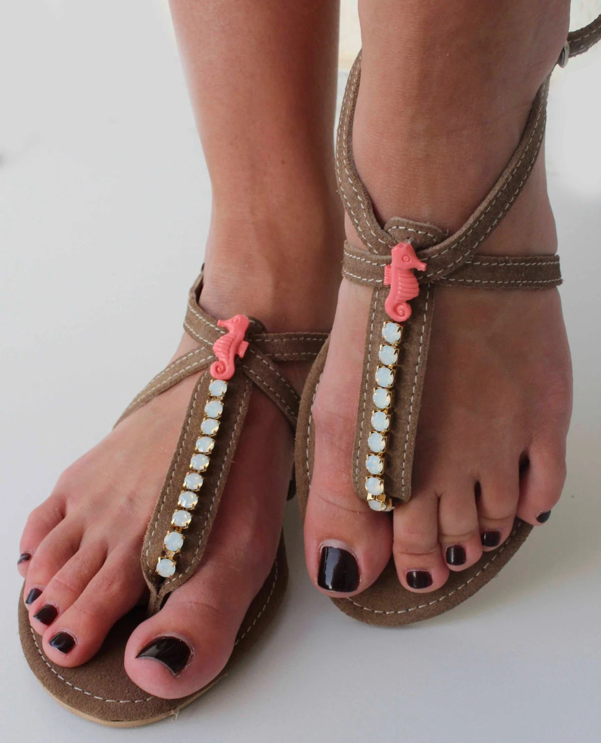 Leather Sandals with Swarovski and Coral Seahorse - Greek Leather sandals - Summer shoes