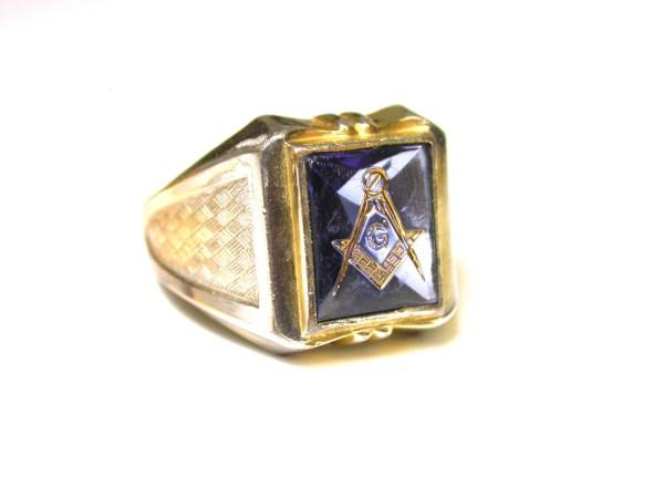 10k Masonic Ring Yellow Gold Plated Men Square