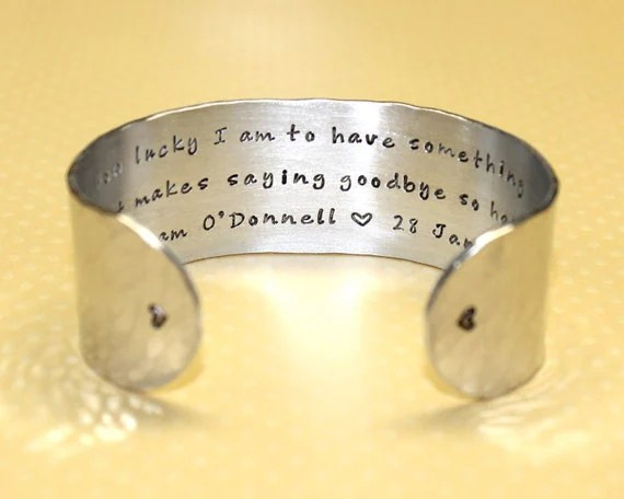 Memory / Memorial Custom Hand Stamped Cuff Bracelet by Korena Loves