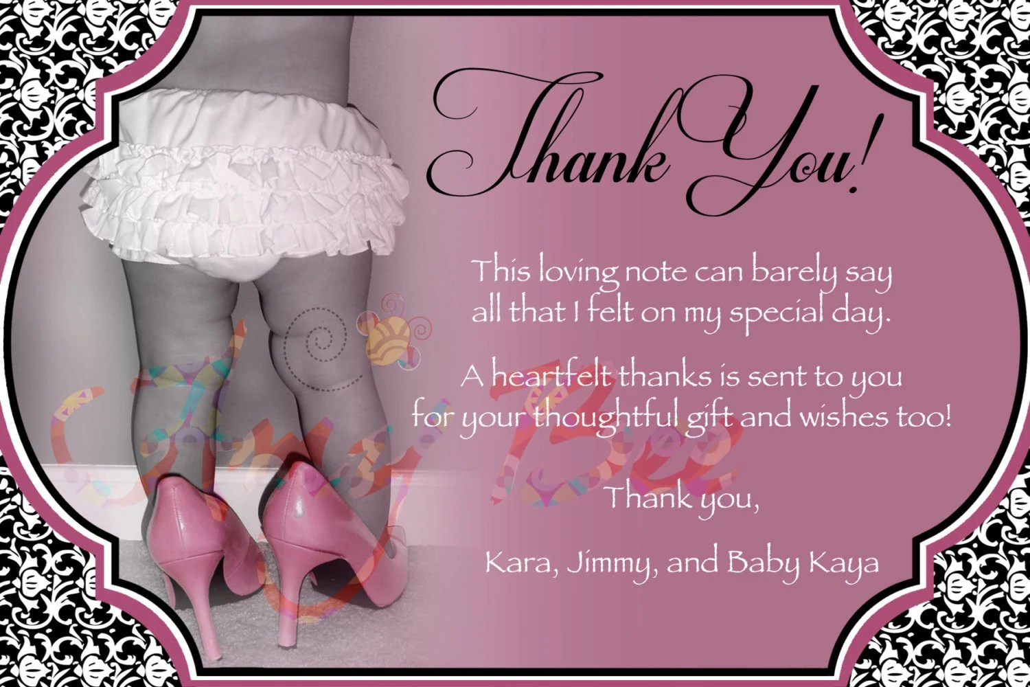 Baby Girl Shower Thank You Note Vintage Printable