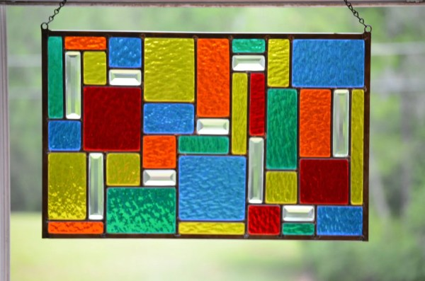 Stained Glass Window 'color Burst Geometric Panel'