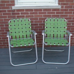 Webbing For Aluminum Folding Chairs Anywhere Chair Pottery Barn Pair Vintage Webbed Lawn Lime Green