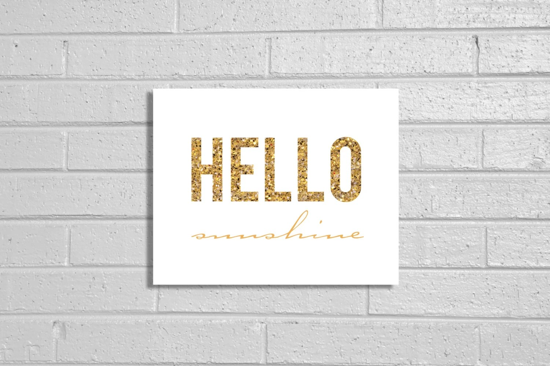 Glitter Hello Sunshine Print - CreativeTypeDesigns