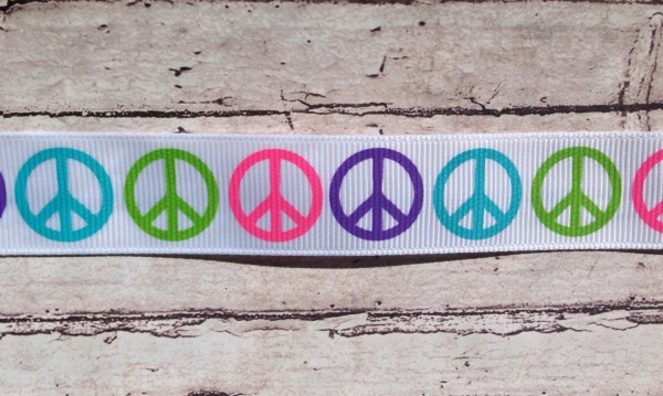 Peace Sign Ribbon 7 8 White Neon