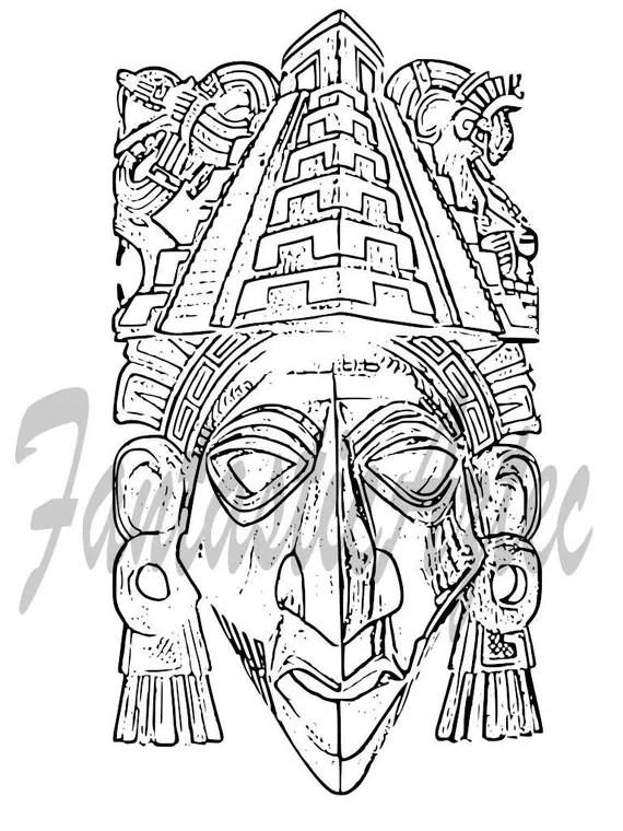 Chichen Itza Warrior Aztec Tattoo Template by