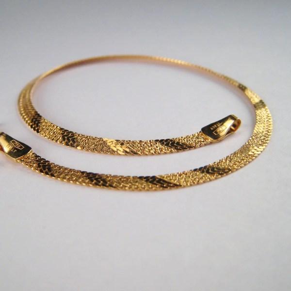 Vintage Italian Gold 18k Jewelry Herringbone Chain