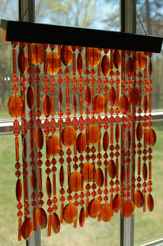 Vintage Amber Beaded Curtain Window DecorSuncatcherWall