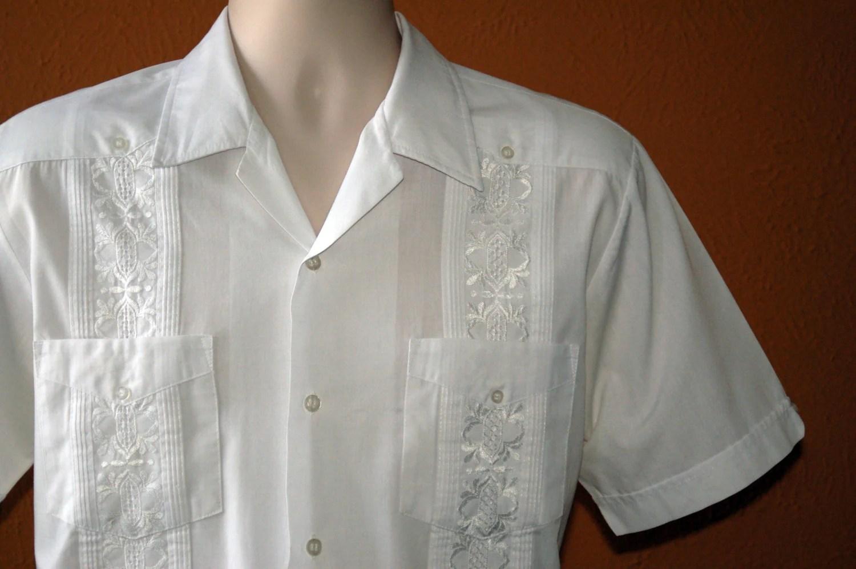 Large White Men's Guayabera Mexican Wedding Shirt