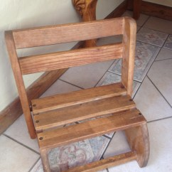 Wooden Step Stool Chair High Seat Beach With Cup Holder Wonderful Vintage Child 39s Or From