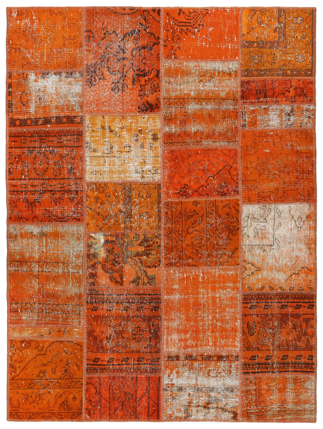 84x59 Inces Wool Rug VINTAGE Turkish Rug Carpet Orange Color Traditional Embroidered Handwoven Naturel Wool Overdyed Rug - VintageCarpets