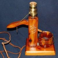 Vintage Wooden Water Pump Lamp 10 plus Tall
