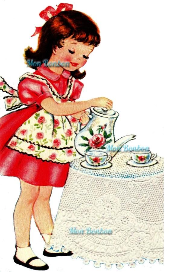 Cute Retro Tea Time Little Girl Illustration Diy