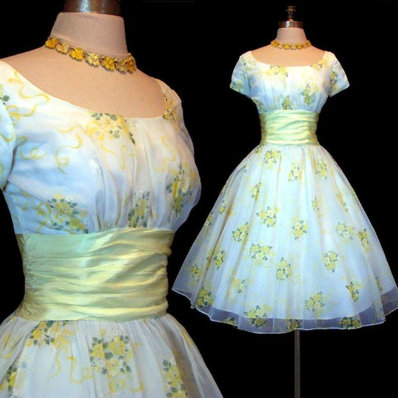 Vintage 50s Ivory Yellow Floral Wedding Dress By