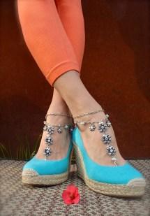 Silver Rhinestone Wedding Barefoot Sandals Chain