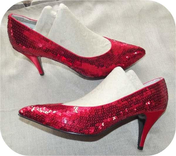 Vintage 80s Ruby Red Sequin High Heel Pumps Dorothy 8. 5